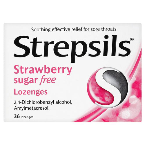Strepsils Strawberry Sugar Free 36 Lozenges