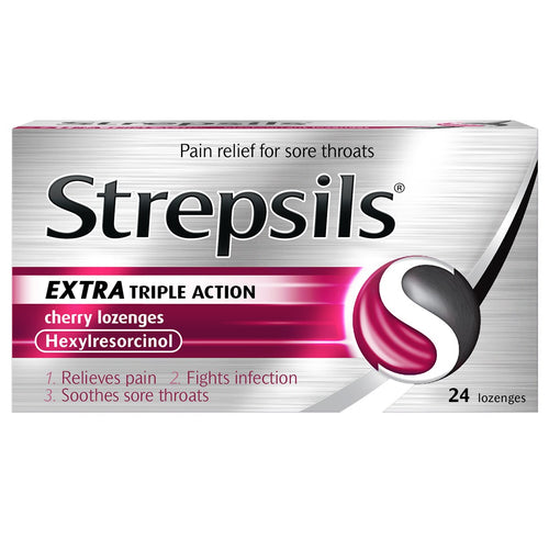 Strepsils Extra Triple Action Cherry Lozenges 24