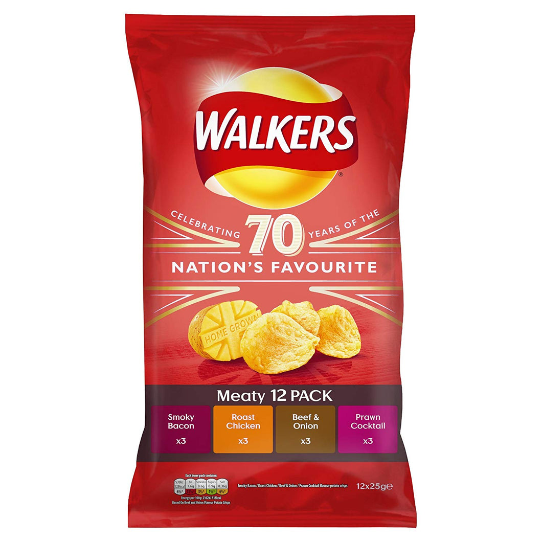 Walkers Meaty Variety Crisps 12 x 25g packs