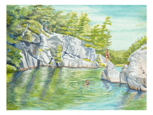 This is a watercolor by Pam Hallock depicting a favorite local swimming and diving local . Hole-in-the Wall is a Canadian Park in Georgian Bay