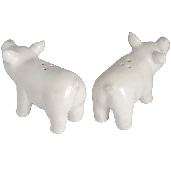White Ceramic Salt & Pepper Pigs - Set of 2