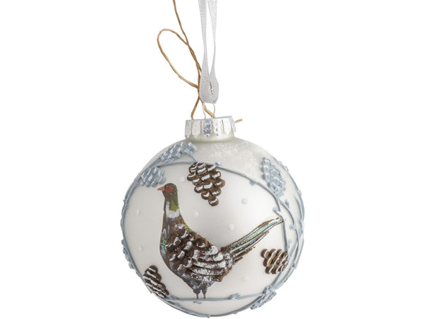 Winter Scene with Pheasant Christmas Bauble
