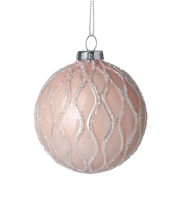Parlane Blush Pink And White Glass Christmas Bauble