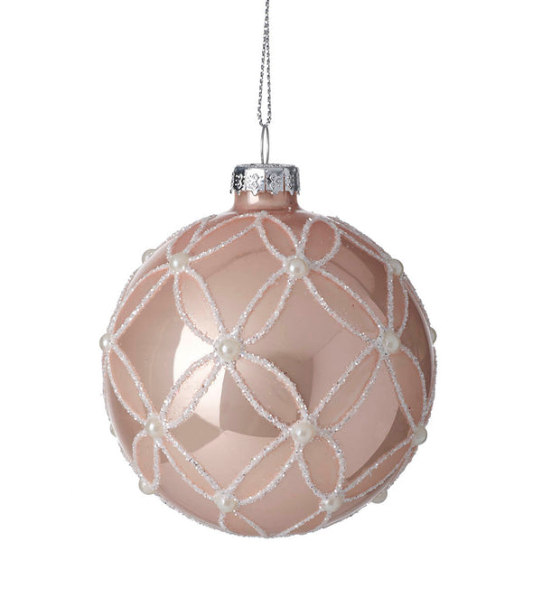 Parlane Blush Pink And White With Pearls Christmas Decoration