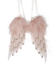 Pink Feathered Angel Wings Christmas Decoration