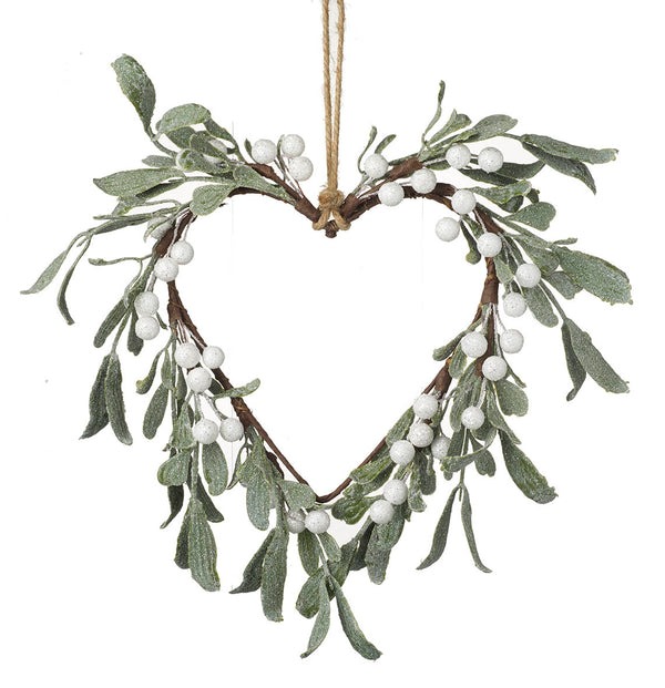 Decorative Hanging Green Leaf Heart: White Berries