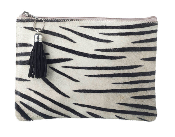 Zebra Print Leather Pouch Clutch Bag