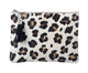 Leopard Print Leather Pouch Clutch Bag