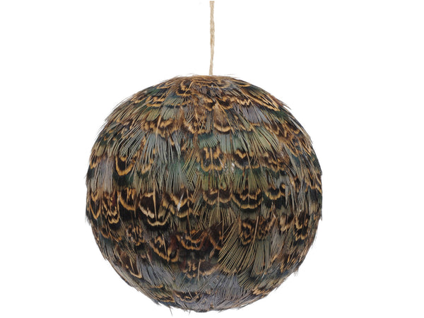 Libra Feather Brown Pheasant Christmas Bauble
