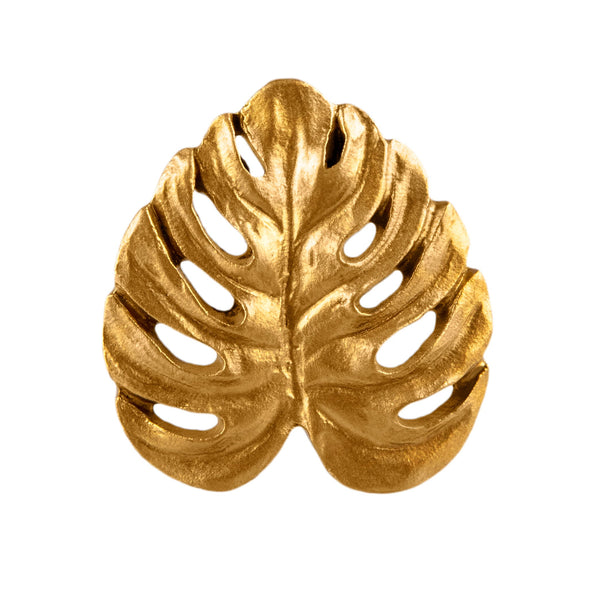 Gold Cheese Plant Leaf Drawer Knob By Sass & Belle
