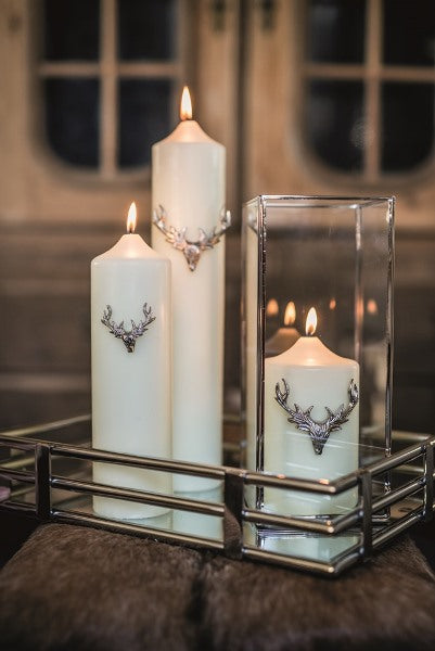 Set of Three Large Stag Antler Candle Pins - Silver Finish
