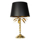 Palm Tree Table Lamp with Black Shade - Gold Finish