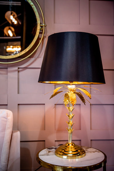 Palm Tree Table Lamp With Black Shade Gold Finish Curtain Call Home
