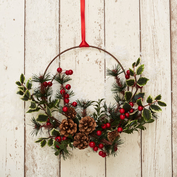 Festive Foliage Wreath Hanging Decoration