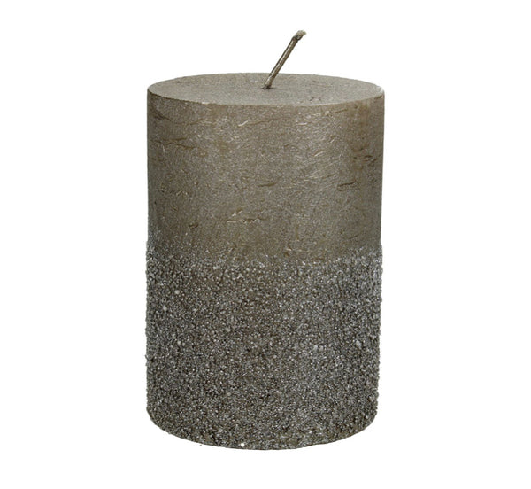 Libra Glitter Taupe Pillar Candle 7x10cm