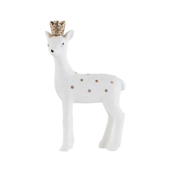 Flocked Gold Crown Deer Standing Decoration