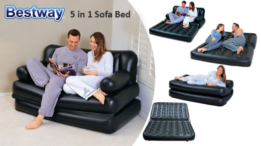 Pleasant 5 In 1 Deluxe Inflatable Sofa Bed With Ottoman Gmtry Best Dining Table And Chair Ideas Images Gmtryco