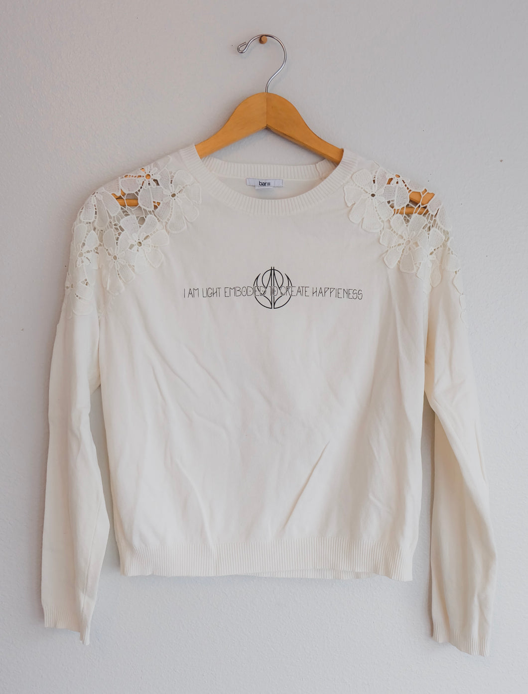 Lace Shoulder Bumble Bee Sweater