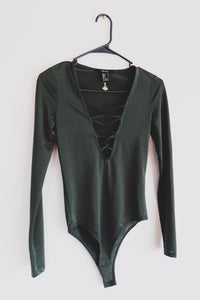 Deep Green Lace-Up Bodysuit - Sigil Collection