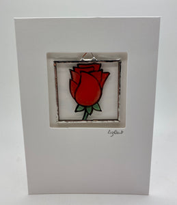 Red rose stained glass greetings card. (LD)