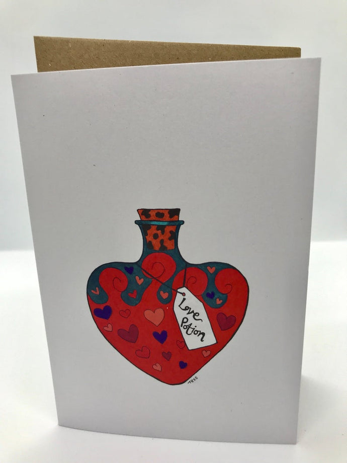 Love potion greetings card (Lemon)