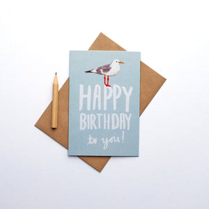 Seagull happy birthday greetings card