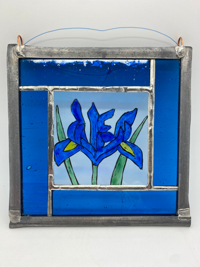 Iris stained glass panel.        LD