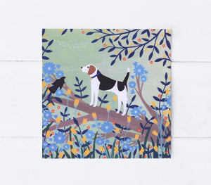 Beagle on a branch greetings card