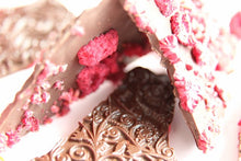 Load image into Gallery viewer, Perian rose essence with raspberries in dark Ecuadorian chocolate bark (FANDT)