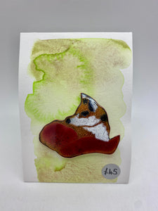 Fox enamel brooch (Sally)