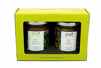 Hot mango chutney and hot lime pickle gift set