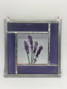 Lavender stained glass panel.                                         LD