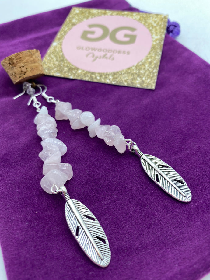 Rose quartz earrings with feather detail by JENNY18