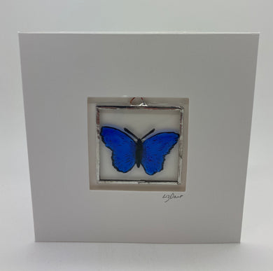 Blue butterfly stained glass greetings card. LD