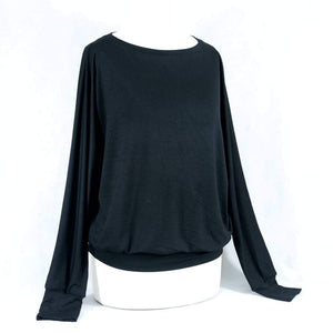 Black viscose long sleeved top (Emily)
