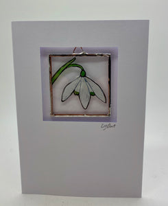 Snowdrop stained glass greetings card.                        LD