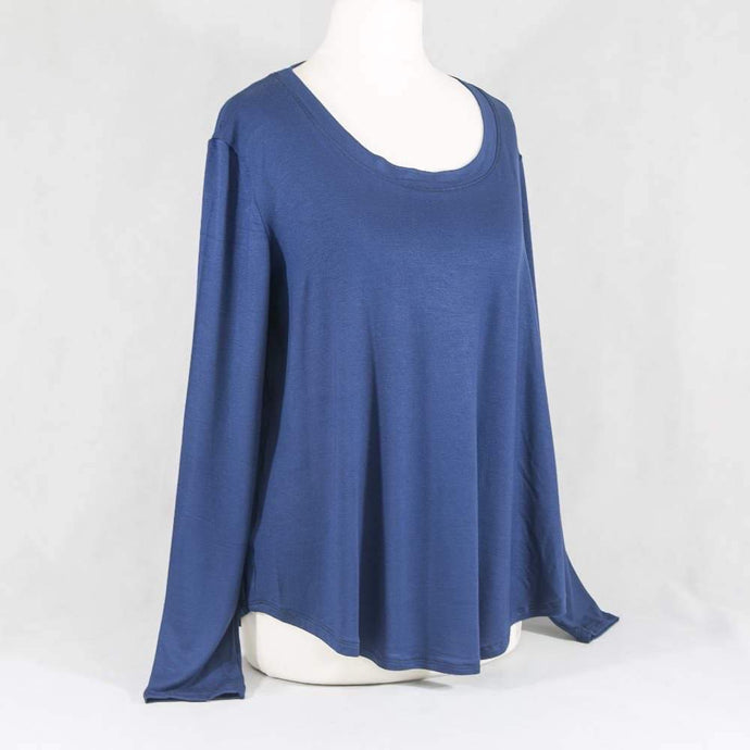 Navy blue  viscose long sleeved top (Emily)