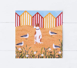 Fox terrier surrounded greetings card