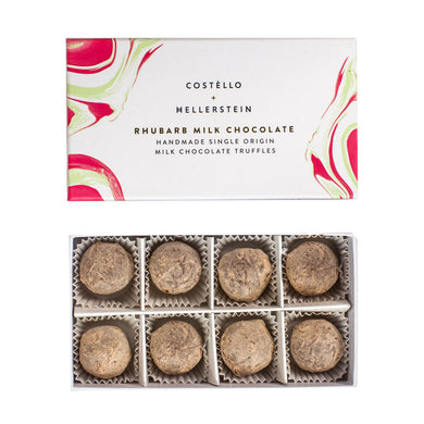 Rhubarb milk chocolate truffles (Costello)