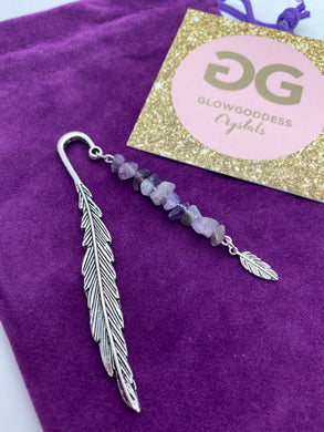 Amethyst and Tibetan silver feather bookmark by JENNY 03