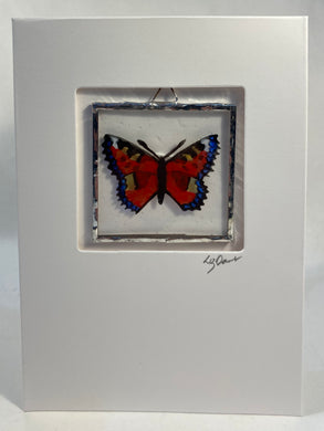 Butterfly stained glass greetings card.                               LD