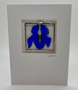 Iris stained glass greetings card.                                 (LD)