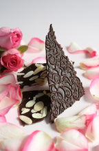 Load image into Gallery viewer, Persian rose essence with almonds in dark Ecuadorian chocolate bark (FANDT)