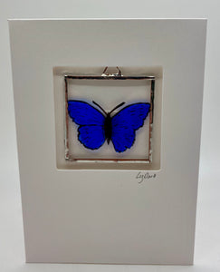 Blue butterfly stained glass greetings card. (LD)