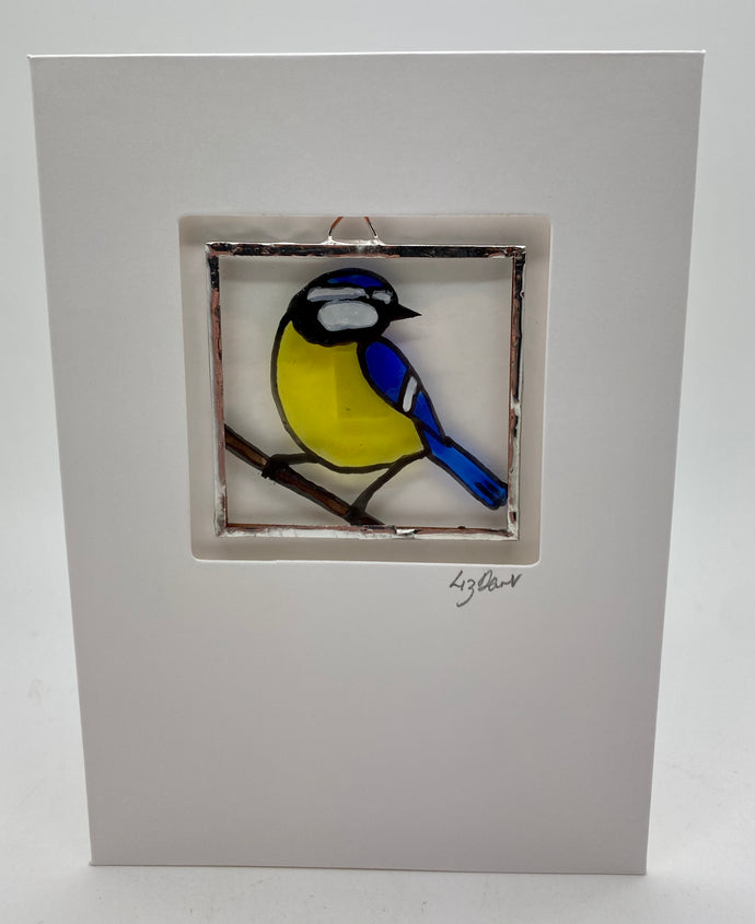 Bluetit stained glass greeting card (LD)