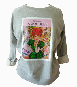 """Goddess"" organic cotton Melange grey unisex sweater (Maeve)"