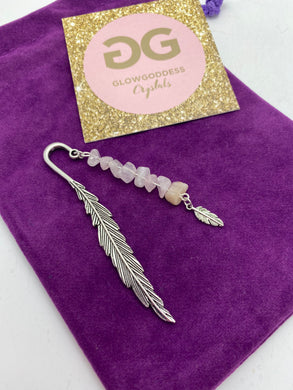 Rose Quartz and Tibetan silver feather bookmark by JENNY08