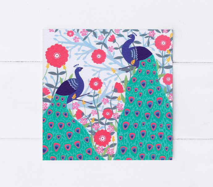 Two peacocks greetings card