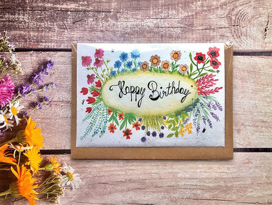 "Plantable flower seed greetings card "" Happy birthday"" (Erika)"