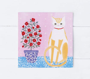 Cat with a pot plant greetings card (Summer)